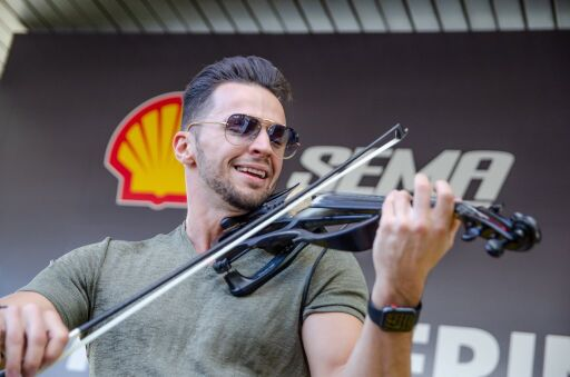 Electro Hip Hop Violinist Svet performs at the SEMA event sponsored by Shell.